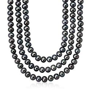 Black Cultured Pearl Endless Necklace #473099