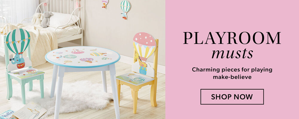 Playroom Musts -- Charming pieces for playing make-believe. Image of child's bedroom, table and chairs.'