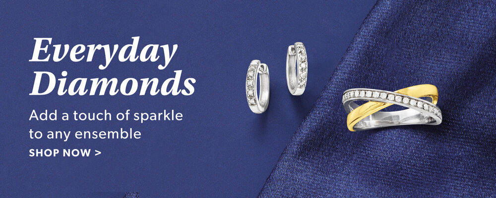 Everyday Diamonds. Add A Touch of Sparkle To Any Ensemble. Shop Now. Image Featuring Diamond Jewelry on a Blue Background