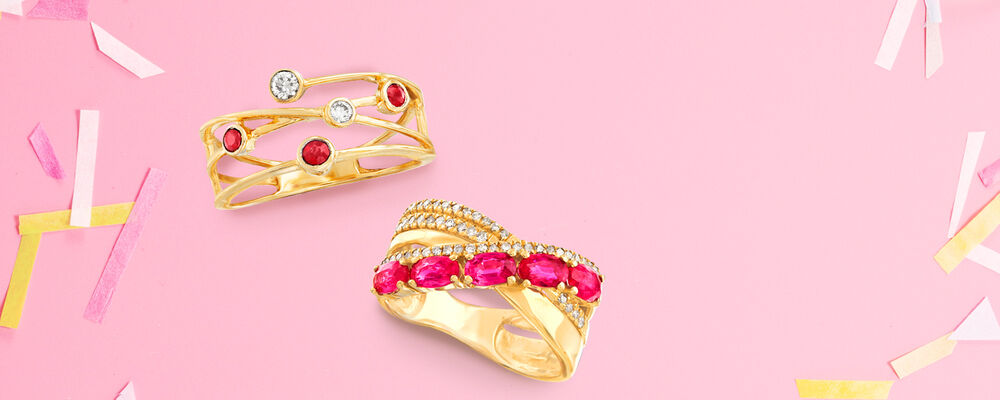 Rubies. Vibrant And Rich in Meaning. Image featuring 824348, Ruby and .27 ct. t.w. Diamond Crisscross Ring 911861
