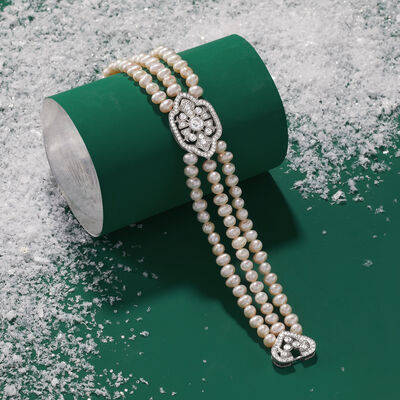 Gifts Under $249. Image Featuring Pearl and Diamond Bracelet