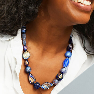 Italian works of art! Shop Murano Necklaces. Image Featuring Murano Necklace on a Model