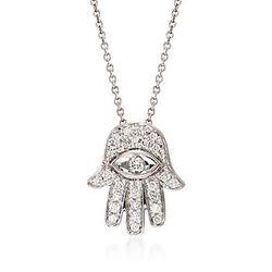 Roberto Coin .18 ct. t.w. Diamond 'Hamsa' Pendant Necklace in 18kt White Gold. 16 Inch #785679
