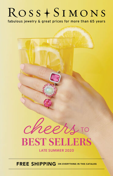 Catalog Cover : Ross-Simons Cheers to Best Sellers 2020 -- image featuring 3 cocktail rings on a hand with a glass of lemonade