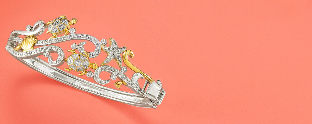 Image Featuring Diamond Sea Life Bangle Bracelet in Sterling Silver with 18kt Gold Over Sterling 928719