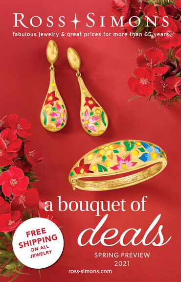 Catalog Cover : Ross-Simons A Bouquet of Deals -- image featuring Enamel Jewelry, Earrings And Ring on Red Background With Red Flowers