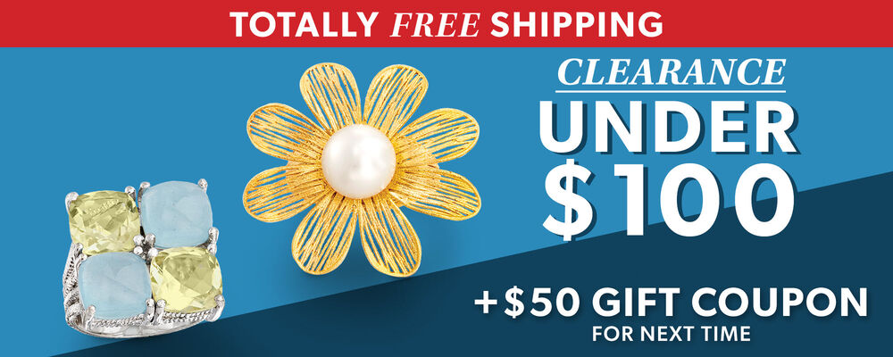 Totally Free Shipping. Clearance under $100. Plus $50 gift coupon for next time. image features a gold floral ring with a pearl center, and a ring with multiple green and blue stones.