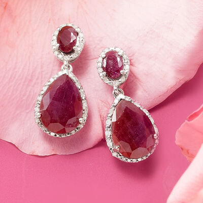 Ruby drop earrings and purple cocktail ring