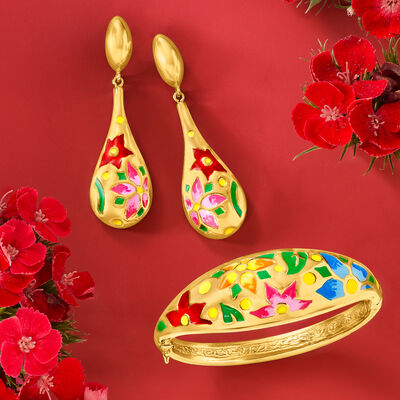 Get that golden glow! Shop Gold Over Sterling. Image Featuring Gold Over Silver Jewelry on Red Background