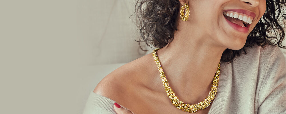 gold jewelry a gleaming classic. Image Featuring Model Shot Wearing Gold Byzantine Necklace