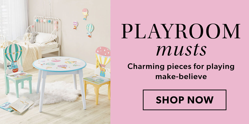 Playroom Musts -- Charming pieces for playing make-believe. Image of child's bedroom, table and chairs.