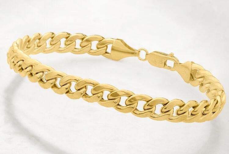 gold cuban link mens bracelet