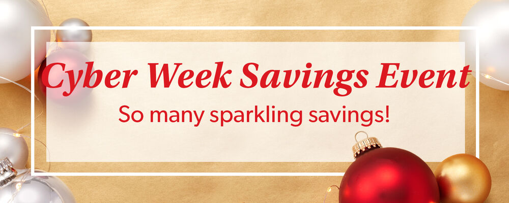 Cyber Week Savings Event. So Many Sparkling Savings! Image Featuring Christmas Decorations on a Gold Background
