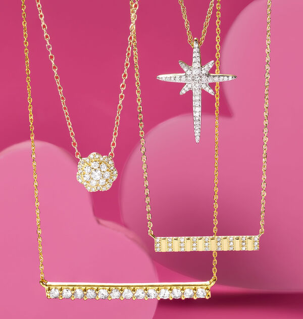simple diamond necklaces feature diamond bars, geometric flower shapes, and starbursts
