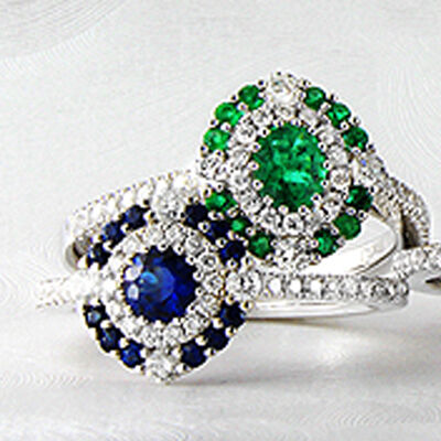 Gregg Ruth. Image Featuring Diamond and Gemstone Rings