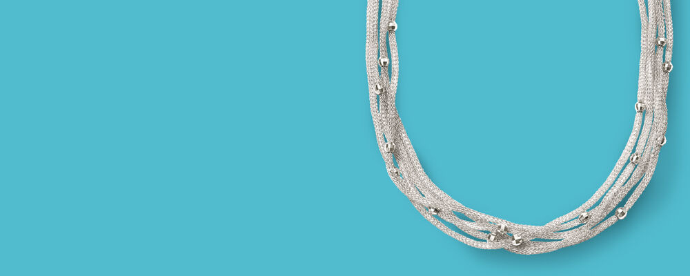Image featuring Italian Sterling Silver Five-Strand Beaded Mesh Necklace (784841)