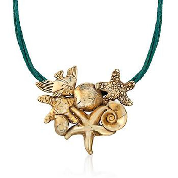 24kt Yellow Gold Over Sterling Silver Sea Life Pin Pendant Necklace With Green Leather. #818408