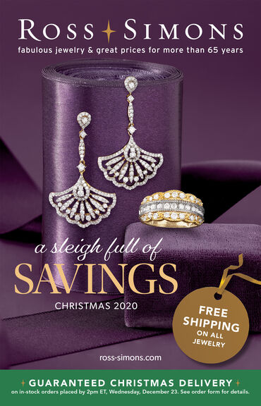 Catalog Cover : Ross-Simons A Sleigh Full Of Savings 2020 -- image featuring Purple Background With Gold and Silver Jewelry