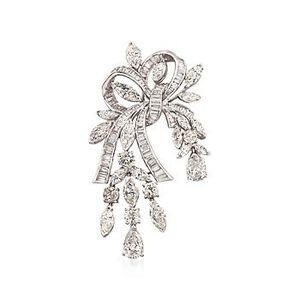 C. 1980 Vintage 18.75 ct. t.w. Diamond Ribbon Pin in Platinum #833560