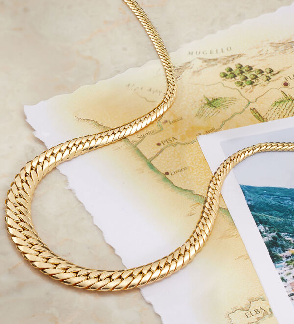 The Gold Standard -- Top-notch styles with Italy's stamp of approval. Gold necklace shown.