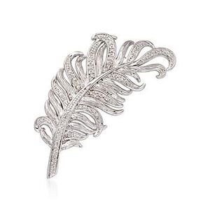 Diamond Feather Pin in Sterling Silver #799459