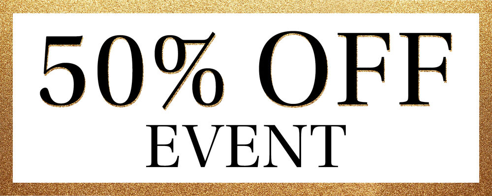 50% Off Event. Background Image Featuring A Gold Sparkly Border