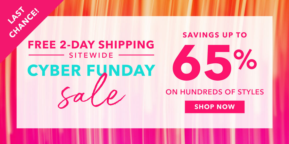 Hurry – Ends Tonight! Cyber Funday savings up to 65%