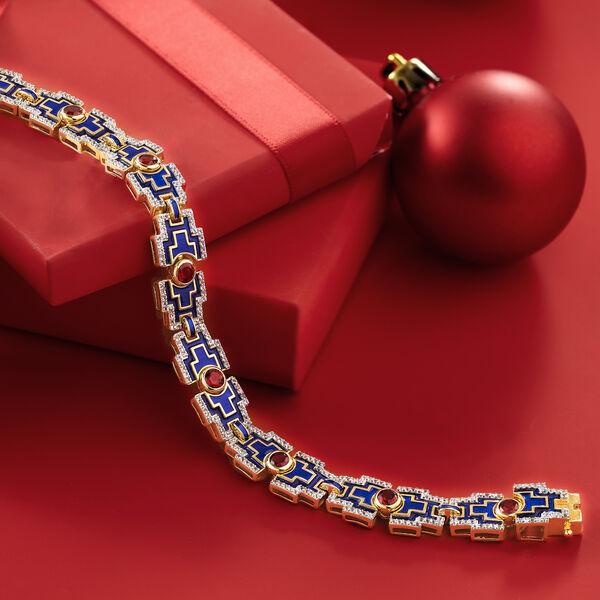 New Arrivals. Image Featuring Gemstone Bracelet on Red Background