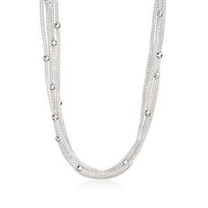 Italian Sterling Silver Five-Strand Beaded Mesh Necklace #784841