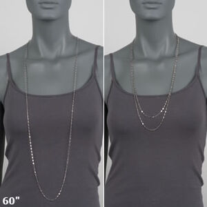 Two examples of how to wear a 60-inch necklace.