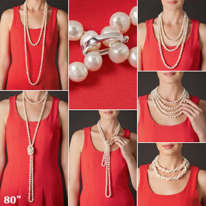 7 different pictures of how an 80-inch necklace is worn.