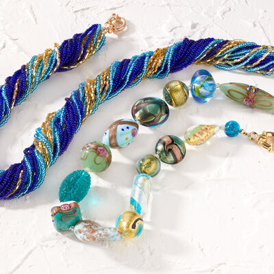 Murano Jewelry. Image featuring Italian Blue and Golden Murano Glass Bead Torsade Necklace with 18kt Gold Over Sterling 844397, Italian Green and Blue Murano Glass Bead Necklace with 18kt Gold Over Sterling 905856.