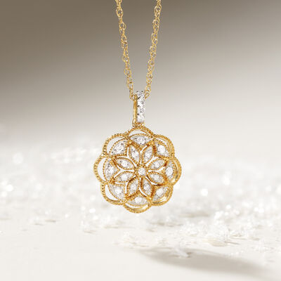 Gifts Under $499. Image Featuring Gold and Diamond Pendant Necklace
