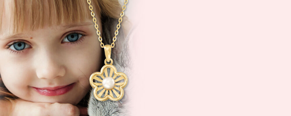 Children's Jewelry. Charming Picks For Little Ones. Image featuring Child's Cultured Pearl Flower Pendant Necklace 927385. Click to shop.