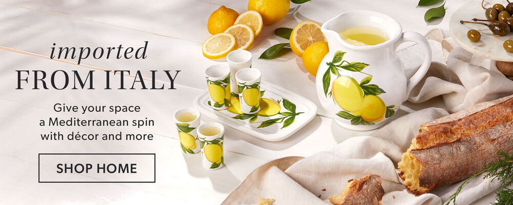 Imported From Italy -- Give your space a Mediterranean spin with decor and more. Lemon design pitcher and cup set shown.