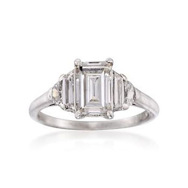 C. 1950 Vintage 1.40 ct. t.w. Diamond Ring in Platinum. Size 4.75 #816511