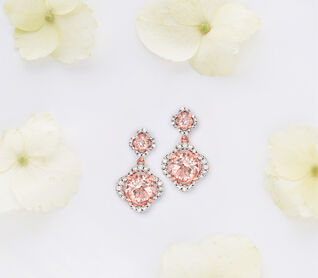 Blushing Bride. Jewelry in the color of love. Image of dangle earrings.