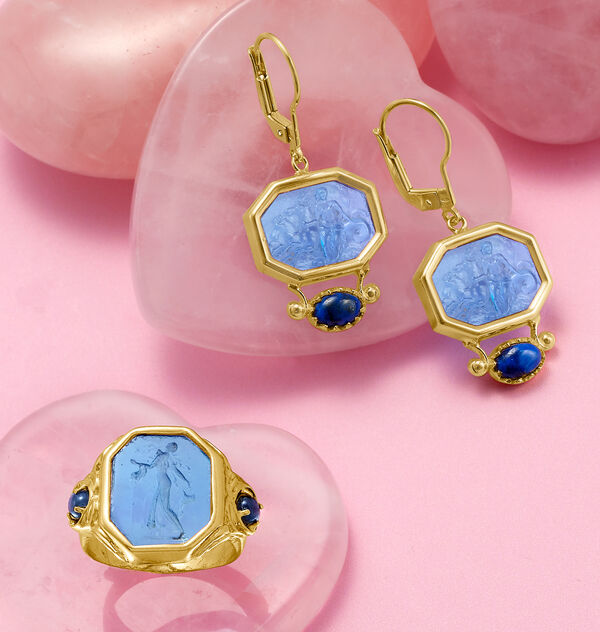 blue venetian glass tagliamonte cameo style earrings and matching ring