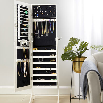 Storage. Image Featuring a White Jewelry Storage Cabinet in a Bedroom Setting