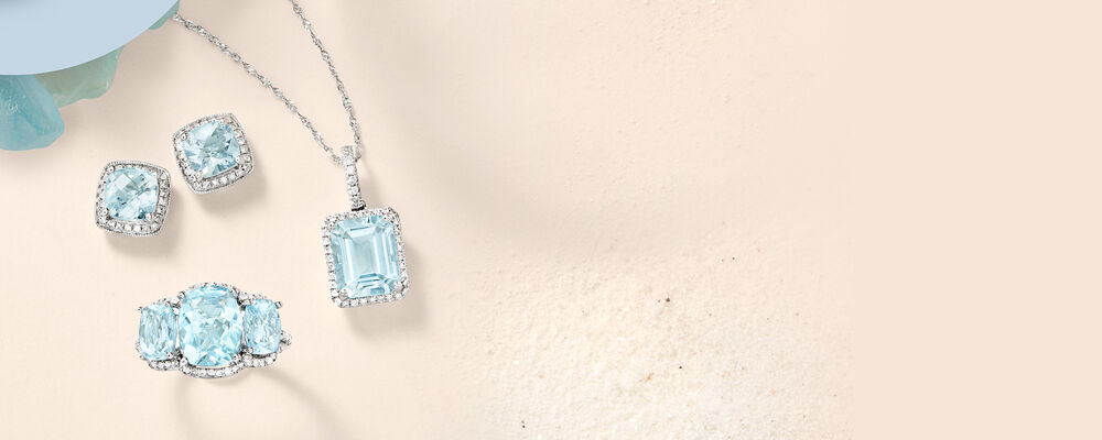 Aquamarine Jewelry. Beautiful and Calming. Image featuring Aquamarine and Diamond Earrings 466728, Aquamarine and Diamond Ring 904087, Aquamarine and Diamond Pendant Necklace 911211. Click to shop