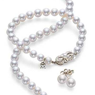 Mikimoto. Image Featuring Cultured Pearl Necklace and Bracelet