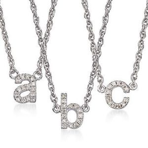 Diamond Accent Mini Initial Necklace in Sterling Silver #793808