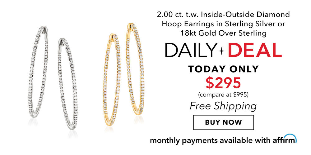 Daily Deal - Only $295 2 ct. diamond inside-outside hoops