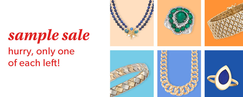 Sample Sale. Hurry, only one of each left! image of a variety of jewelry on a colorful grid