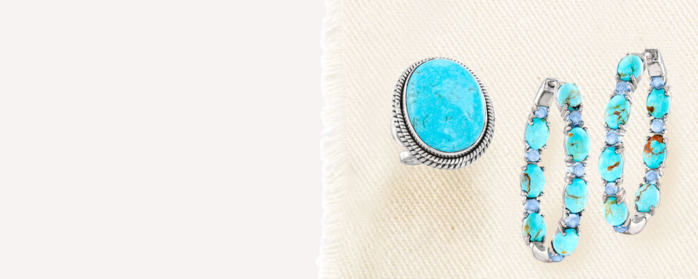 Turquoise jewelry. Bright symbols of serenity. image featuring Turquoise Ring in Sterling Silver 885865, and Turquoise and 2.10 ct. t.w. Swiss Blue Topaz Inside-Outside Hoop Earrings 921088. Click to shop