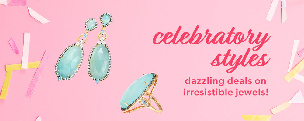 Celebratory Styles. Dazzling Deals On Irresistible Jewels! Image featuring Aqua Chalcedony and Blue and White Topaz Drop Earrings 895405, Aqua Chalcedony and Blue and White Topaz Ring 895433