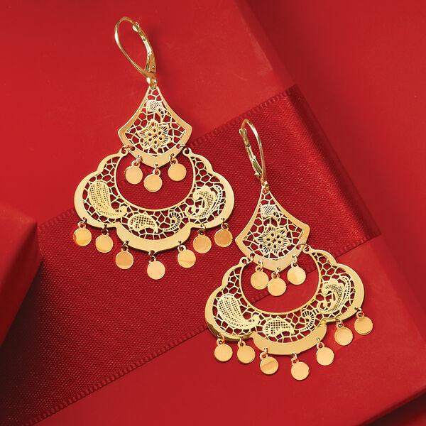 Italian Jewelry. Image Featuring Tiger Skin Gold Hoop Earrings