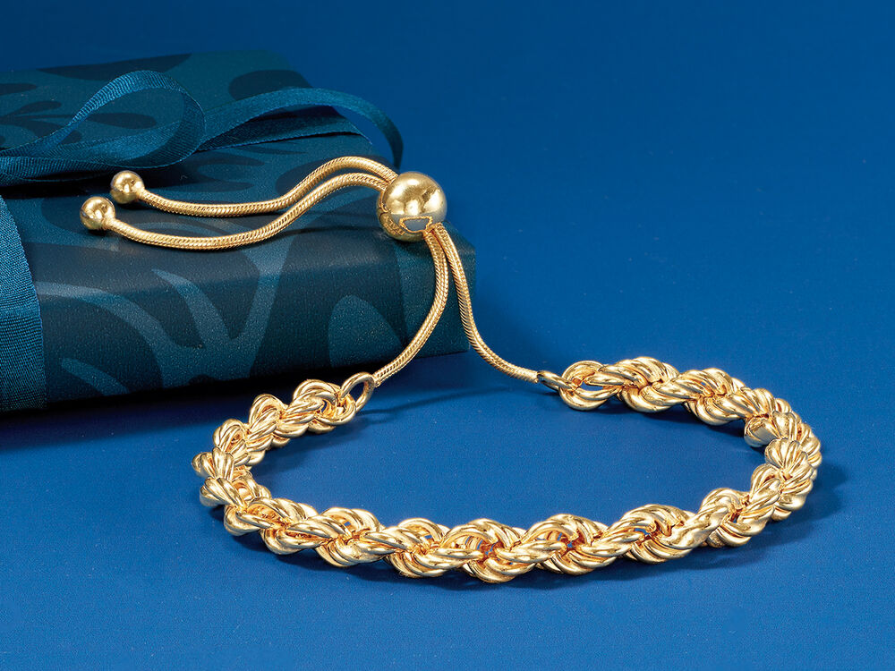 Italian 18kt Gold Over Sterling Rope-Style Bolo Bracelet #888198