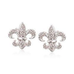 14kt White Gold Fleur-De-Lis Stud Earrings With Diamond Accents #825022