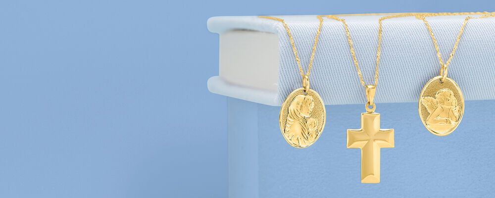 Gifts. Styles That They Always Wanted. Image Featuring Gold Necklaces on Blue Background